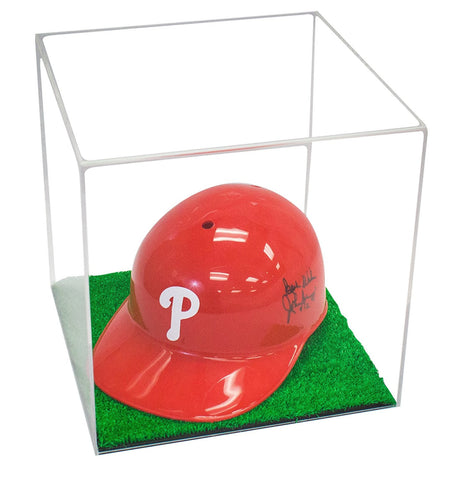 Deluxe Clear Acrylic Full Size Square Sports Display Case with UV Protection and Turf Bottom (A001-TBC)