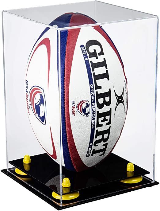Acrylic Rugby Ball Display Case with Risers Vert.Clear