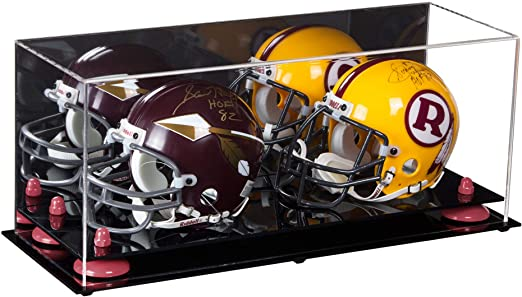 2 Mini Helmet or Mini Football with Mini Helmet (not Full Size) Display Case with Risers Mirror
