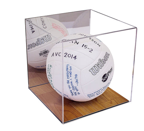 "Volleyball Display Case <br> <sub>With Mirror and ""Wood"" Floor (A008-MWB), Display Case, Better Display Cases, Better Display Cases - Better Display Cases"