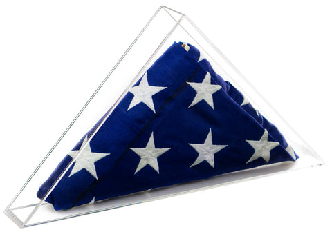 Deluxe Clear Acrylic Flag Display Case for Large 5' x 9.5' Flag<br><sub>for American / Burial / Funeral / Veteran Flag<br>(Table Top or Wall Mount), Display Case, Better Display Cases, Better Display Cases - Better Display Cases