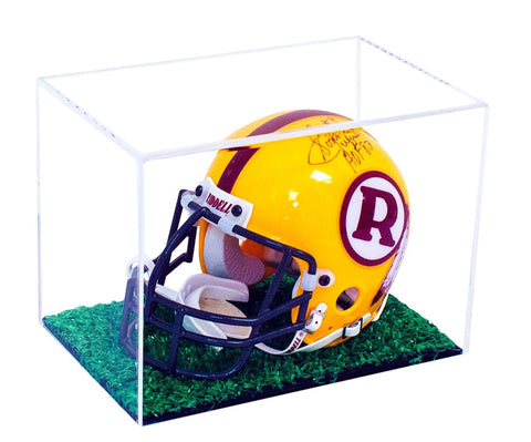 Mini Football Helmet Display Case (not full size) - Better Display Cases - Acrylic Plexiglass with Turf Bottom (A003-TB) <br><sub>(Clear or Mirror)</sub><br> <sub>NFL, NCAA, and More, Display Case, Better Display Cases, Better Display Cases - Better Display Cases