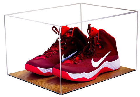 Basketball Shoe Display <br> Case with Wood Floor<br> <sub> For NBA, NCAA, and more </sub>