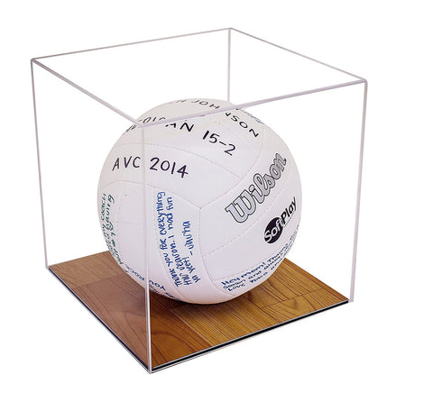 Clear Volleyball Display Case <br> With Wood Floor <br>(A008-CWB), Display Case, Better Display Cases, Better Display Cases - Better Display Cases