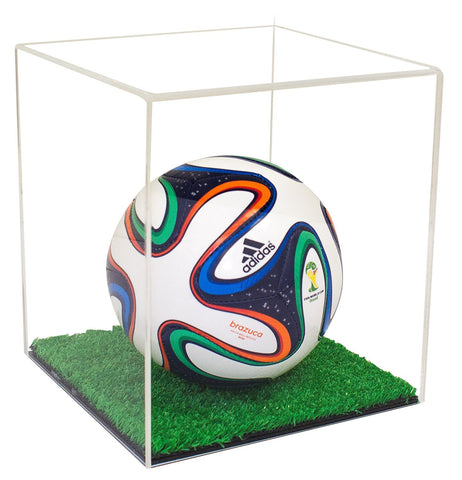 Mini Soccer Ball <br> Clear Display Case <br> with Turf Bottom <br><sub> FIFA, NCAA, and More! (A015-TB)