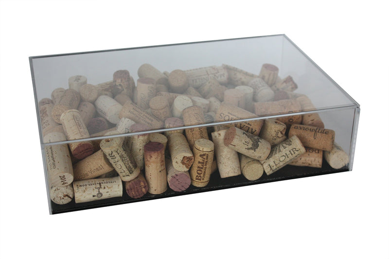 Deluxe Acrylic Wine Cork Display Case Black Back Wall Mount (A051-BB)