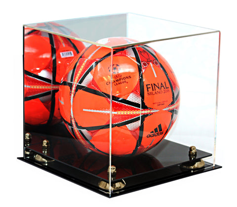 Acrylic Soccer Ball Display Case with Gold Risers and Mirror