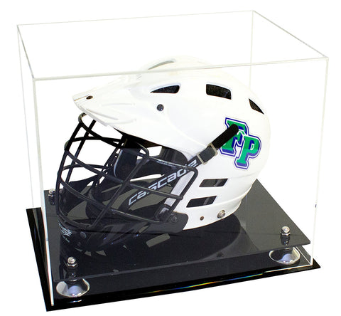 Deluxe Clear Acrylic Lacrosse Helmet<br>Display Case<br><sub>with Risers (A002), Display Case, Better Display Cases, Better Display Cases - Better Display Cases