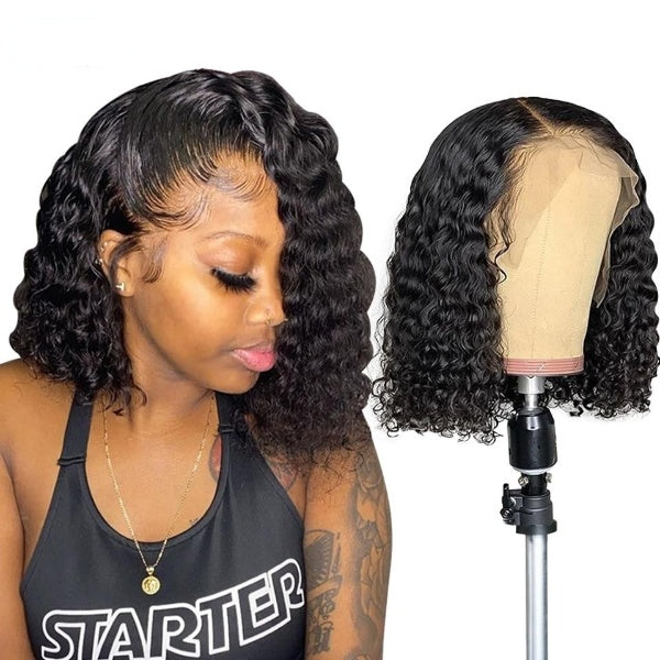 Curly Bob Lace Front Human Hair Wigs