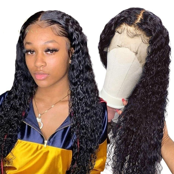 Curly human hair wig water wave