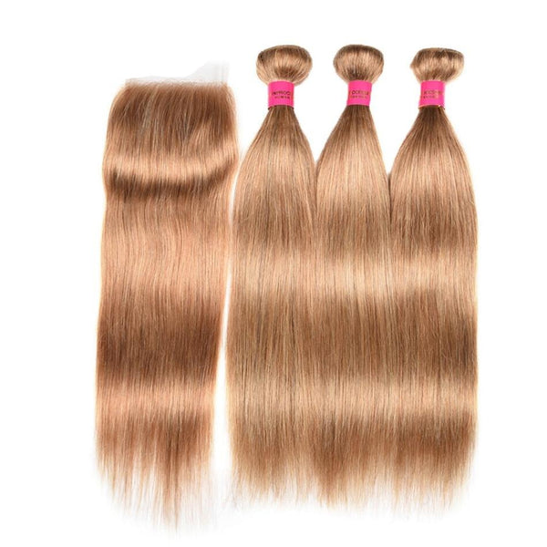 Indian Honey Blonde Hair Straight Bundles With Closure