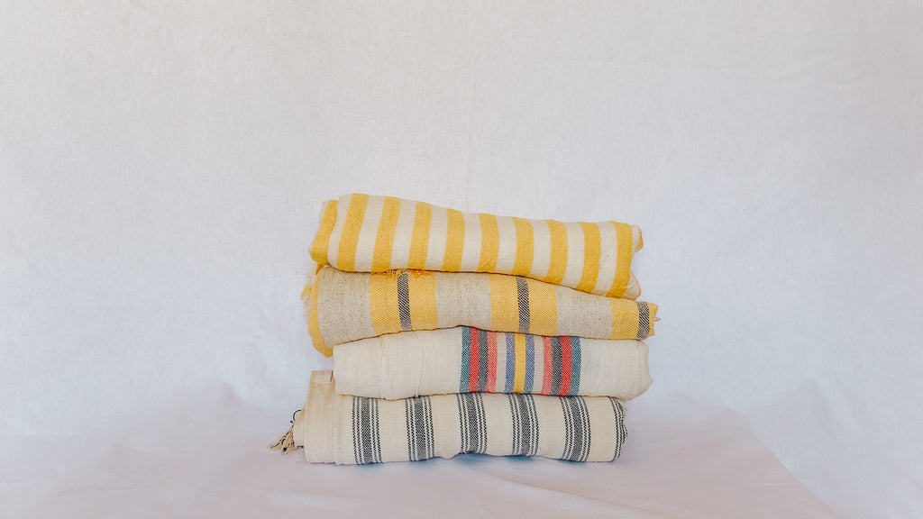 4 of bedestan's premium towels. 100%-cruelty free, from family owned artisans with generations of expertise. Softer with every wash, sustainable as they are time-honored, these are the perfect towels for self-care in the home or on the road.