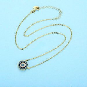 925 Sterling Silver Necklace Charm Round Pendant Evil Eye Necklace