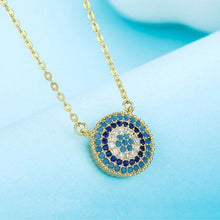 Load image into Gallery viewer, 925 Sterling Silver Necklace Charm Round Pendant Evil Eye Necklace