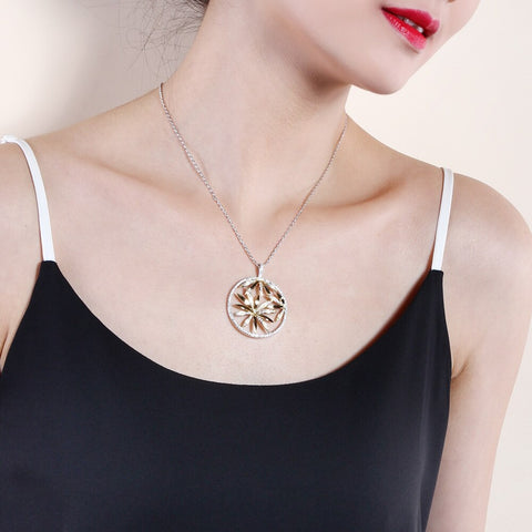 Big Flower Pendant Necklace