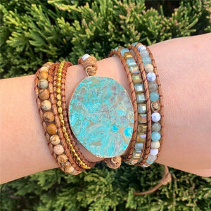 Leather Wrap Beaded Ocean Bracelet