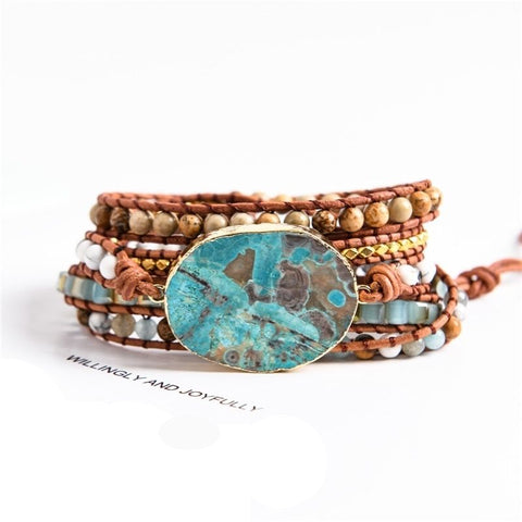 Image of Leather Wrap Beaded Ocean Bracelet