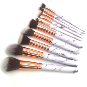 Marble Makeup Brush Set - 10 pcs