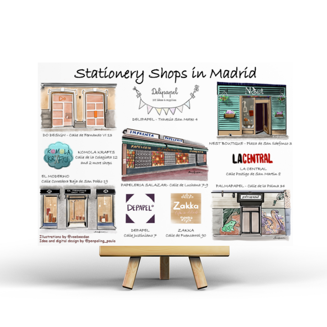 Stationery Shops in Madrid - Postcard