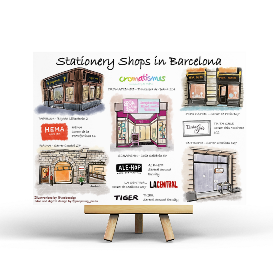 Stationery Shop in Barcelona - Postcard