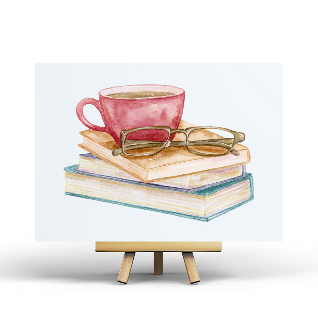 Books & Coffee - Postcard