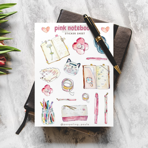 Pink Notebooks - Sticker Sheet