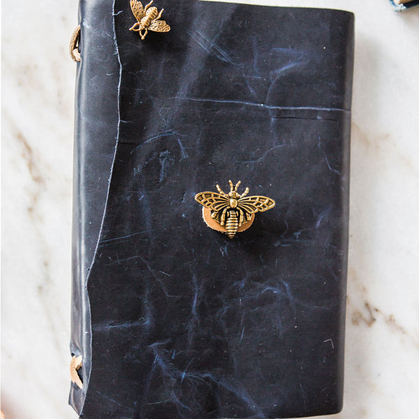 Stylized Nest Handmade Large Leather Navy Journal with Brass Bee Pen Set