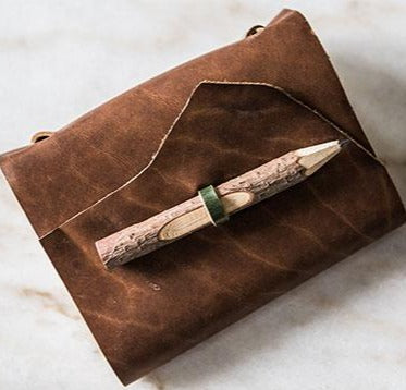 Stylized Nest Handmade Medium Leather Journal with Carved Pencil