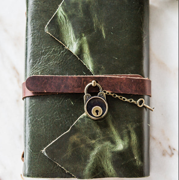 Stylized Nest Handmade Large Leather Olive Journal with Lock & Pen Set