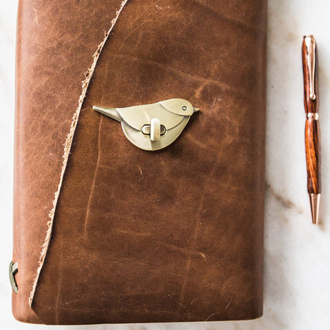 Stylized Nest Tan Handmade Large Leather Journal & Pen Set
