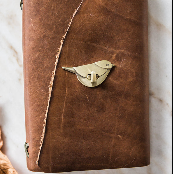 Stylized Nest Handmade Large Leather Cognac and Gold Journal & Pen Set
