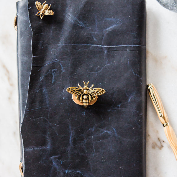 Stylized Nest Handmade Large Leather Navy and Brass Journal & Pen Set