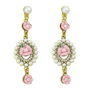 2015 New Fashion Ethnic Style Imitation Pearl Candy Color Cute Flower Resin Dangle Earrings For Women