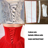 A Set Of Satin Corset Kit Zipper Replacement  Gown All Colors Back Lace Up