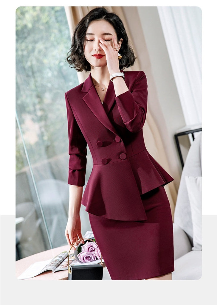 New Styles 2019 Spring Autumn Formal Business Suits With Jackets and Pants Novelty Black Red Wine Professional Ladies Office Work Wear Female Blazers Trousers Sets Career Interview Job Clothing Sets Plus Size 4XL