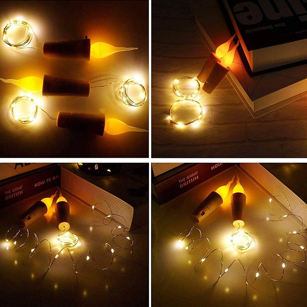1Pcs Candle Flameless Wine Bottle Cork Fairy Mini String Flame Shaped Light Home Party Decoration Flameless Candle Wine Bottle