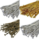 100Pcs 21 Gauge Gold Silver Plated Head Pins Accessories for DIY Bead Earring Charm Bracelet Jewelry Making