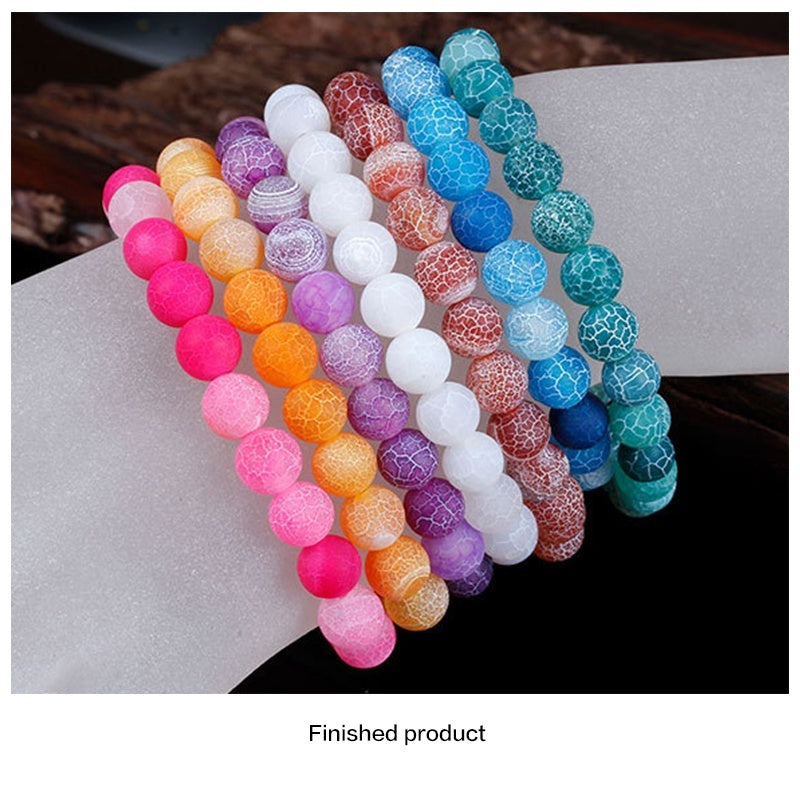 8mm Series Frosted Natural Stone Matte Agate Polished Crack Matte Gemstone Chain Round Bracelet for Making Jewelry/fashion Bracelet Unisex
