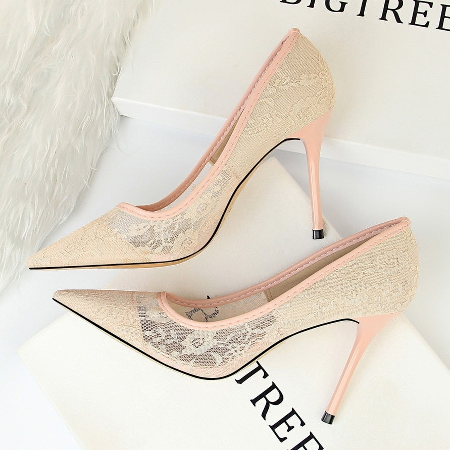 EU 34-40/US 3-9 European Style Women's Casual Pointed Toe Mesh Lace Hollow Out High-heeled Shoes Fashion Formal Stilettoes Shoes