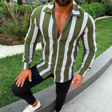 Plus Size S-5XL 4 Colors New Fashion Spring and Summer Autumn Men Casual Long Sleeve Turndown Collar Business Shirt Slim Fit Zipper Striped Bodycon T-shirt Brief Work Tops