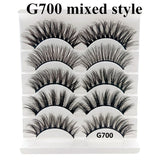 5 Pairs Different Style 5 Pairs Multipack 6D Mink Lashes False Eyelashes Natural Makeup Eyelash Extension Long Cross Volume Soft Fake Eye Lashes