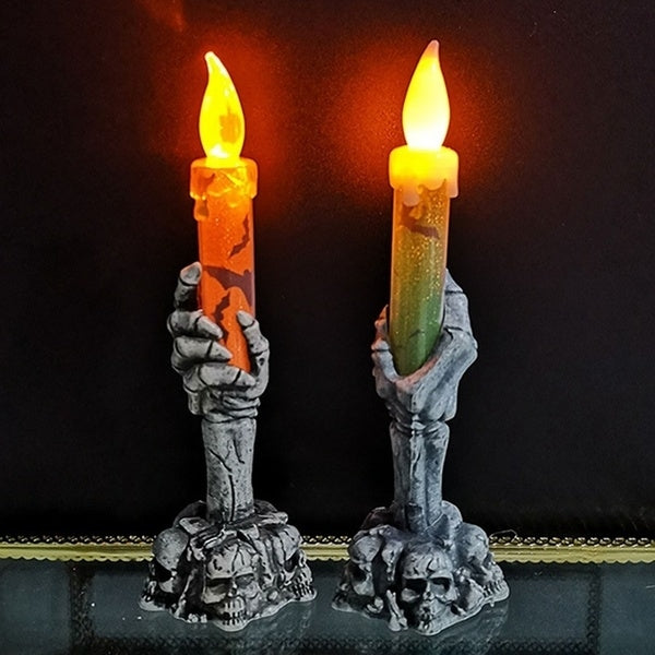 Halloween Skull Skeletal Lamp Skull Hand Stand Led Candle Flame Light Lamp Home Party Bar Decor