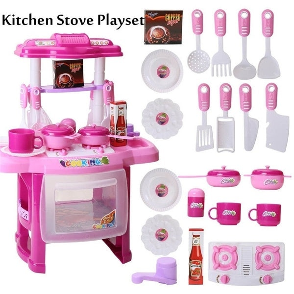 1pc Cooking Toy Set with Light Music Early Learning Wooden Educational Stove Set Accessories for Kids Children Toddlers