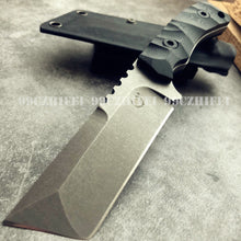 Load image into Gallery viewer, Top Quality Military Heavy Very Sturdy Tanto Titanium Tactical Fixed Blade G10 Handle D2 Blade Survival Hunting Knife Jungle Camping Tool with K Sheath