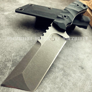Top Quality Military Heavy Very Sturdy Tanto Titanium Tactical Fixed Blade G10 Handle D2 Blade Survival Hunting Knife Jungle Camping Tool with K Sheath
