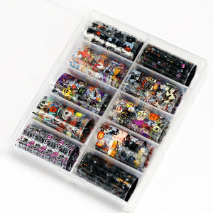 10Rolls/box 3D Nail Foils Transfer DIY Manicure Holographic Halloween Christmas Transfer Decals Nail Sticker Starry Sky
