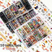 Load image into Gallery viewer, 10Rolls/box 3D Nail Foils Transfer DIY Manicure Holographic Halloween Christmas Transfer Decals Nail Sticker Starry Sky