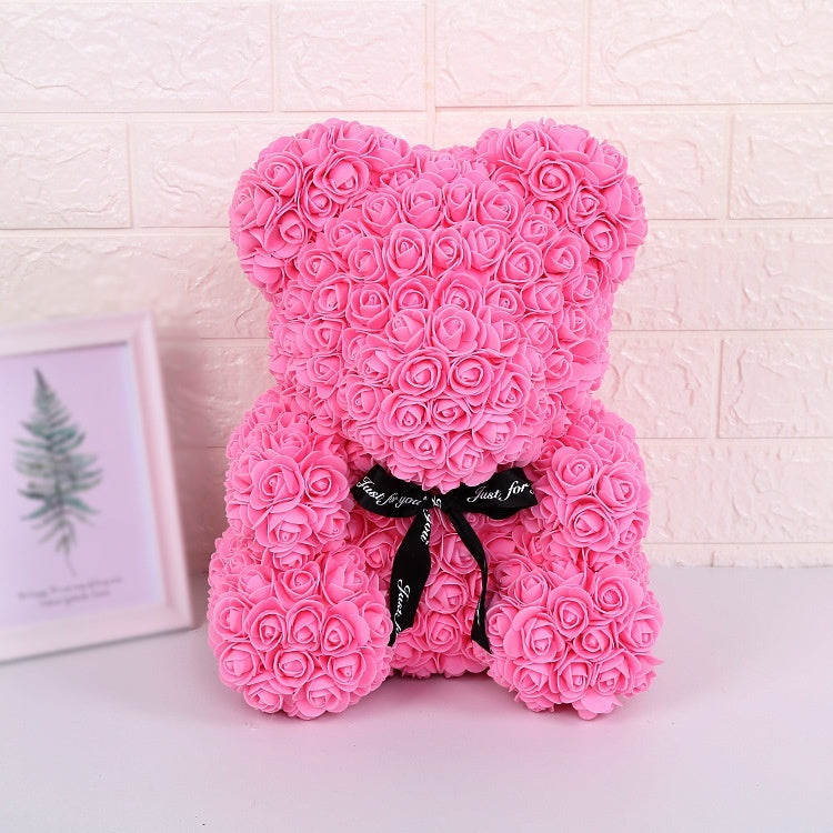 Bear of Rose Dolls PE Artificial Rose Handmade Romantic Love Heart Rose Flower Bear Foam Toy Valentine's Day Wedding Gift