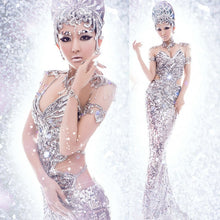 Load image into Gallery viewer, Fashion Mermaid Skirt Slim Sequins Stage Costumes Dress Sexy Tight Pencil Dresses with Luxury Accessories