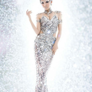 Fashion Mermaid Skirt Slim Sequins Stage Costumes Dress Sexy Tight Pencil Dresses with Luxury Accessories